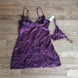 Blush Lace Chemise G-string Set Wine Colour M NWT
